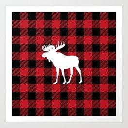 Red Buffalo Plaid Moose Art Print