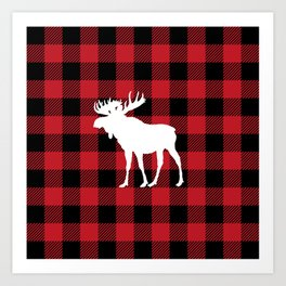 Red Buffalo Plaid Moose Art Print
