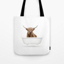 Highland Cow in a Vintage Bathtub (c) Tote Bag