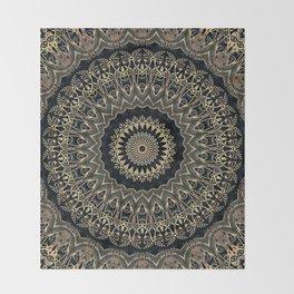 Gold Filigree Mandala Throw Blanket