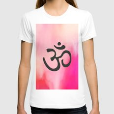 Om Ohm Symbol White X-LARGE Womens Fitted Tee