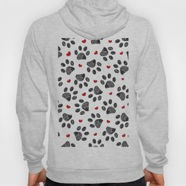 Seamless black paw print with red hearts Hoody