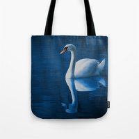 swan queen Tote Bags featuring Swan by Spooky Dooky