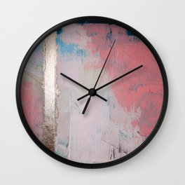 Morning Light: a minimal abstract mixed-media piece in pink gold and blue by Alyssa Hamilton Art Wall Clock