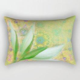 Bauhinia buds against textured green background Rectangular Pillow
