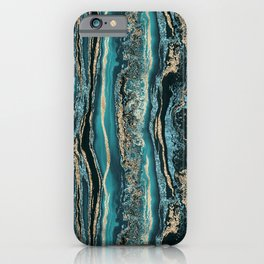 Turquoise Gold Sparkling Luxury Marble Gemstone Art iPhone Case