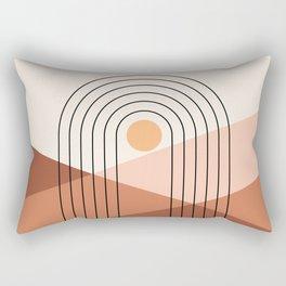 Geometric Lines in Beige and Terracotta 5 (Rainbow Sun Mountain) Rectangular Pillow