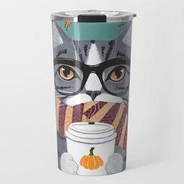 Grey Tabby Autumn Coffee Cat Travel Mug
