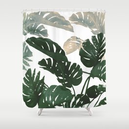 green leaves monstera Shower Curtain