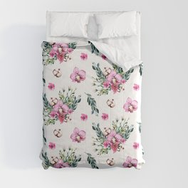 Modern fuchsia green watercolor country floral Comforters