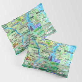 USA Midwest States Travel Map MN WI MI IA KY IL IN OH MO With_Highlights Pillow Sham