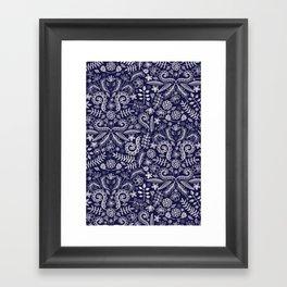 Chalkboard Floral Doodle Pattern in Navy & Cream Framed Art Print