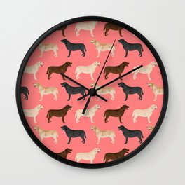 Labrador retriever coats of all colors dog breed pet portraits dogs pets unique pet themed gifts Wall Clock
