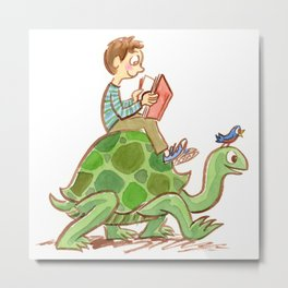 The Tortoise-Riding Reader Metal Print