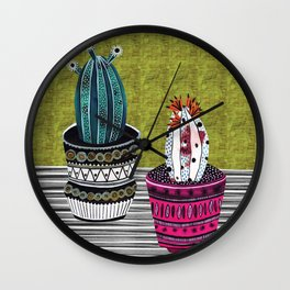 Cactus Collage by Veronique de Jong Wall Clock
