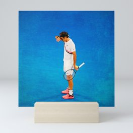 Roger Federer Thinking Tennis Mini Art Print