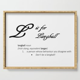 L is for Langball, Minimalist Elegant Dictionary Style Irish Cursing Typography Serving Tray