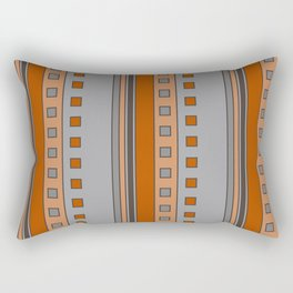 Squares and Stripes in Terracotta and Gray Rectangular Pillow