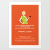 pushing daisies Art Prints featuring Pushing Daisies - Olive by MacGuffin Designs