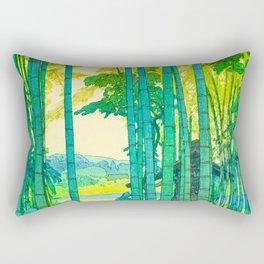 Yoshida Hiroshi Bamboo Grove Vintage Japanese Woodblock Print Bright Green Bamboo Landscape Forest Rectangular Pillow