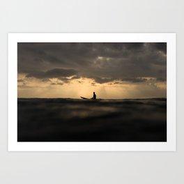 Surfer Sunset Art Print