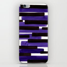 Purple Primitive Stripes Mid Century Modern Minimalist Watercolor Gouache Painting Colorful Stripes iPhone Skin