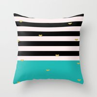 gold foil Throw Pillows featuring Gold Foil & Teal by msstephiebaby
