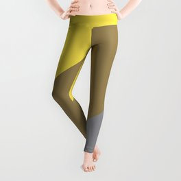 Grey Yellow Brown Line Design Solid Colors 2021 Color of the Years and Accent Hue Leggings