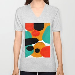Mid Century Modern Abstract Minimalist Retro Vintage Style Rolie Polie Olie Bubbles Teal Orange Unisex V-Neck