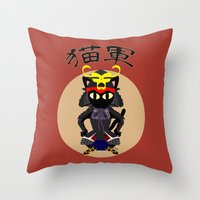 army Throw Pillows featuring Cat Army by BATKEI