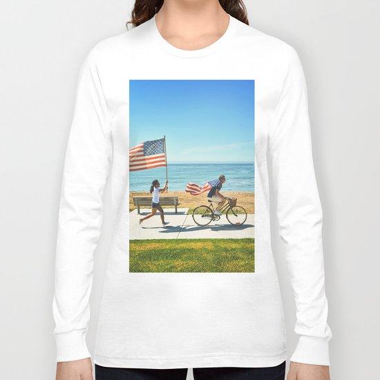 America flag bicycle Long Sleeve T-shirt