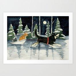 Moonlit Run - Watercolor Art Print