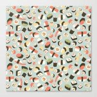 novelty Canvas Prints featuring Yummy Sushi! by Eine Kleine Design Studio