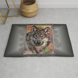 Portrait of a Gray Wolf Rug