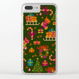 christmas x stitch pattern for the holiday mood Clear iPhone Case