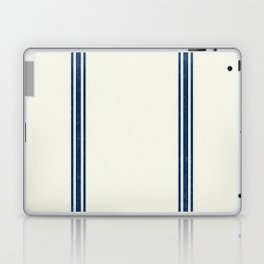 Blue Stripes on Creme background French Grainsack Distressed Country Farmhouse Laptop & iPad Skin