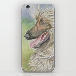 Afghan Hound Dog portrait Watercolor Painting Greyhound Decor for Pet lover iPhone Skin