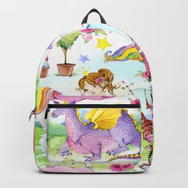 Princess with Unicorns and Dragons Backpack