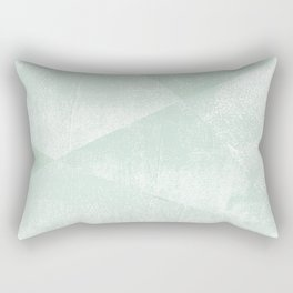 Mint Green and White Geometric Triangles Lino-Textured Print Rectangular Pillow