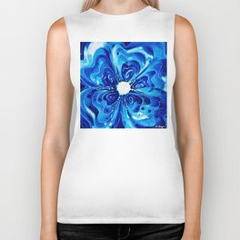 Blue Glory - Abstract Flower Floral by Sharon Cummings Biker Tank