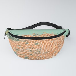 San Francisco city map orange Fanny Pack