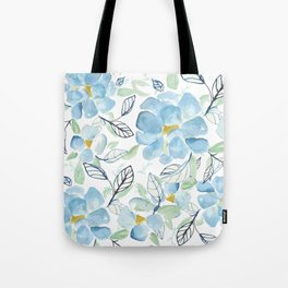 Blue flower garden watercolor Tote Bag