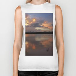 Sunset at the lake after the storm. Biker Tank