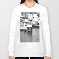 boats Long Sleeve T-shirts featuring Boats BW by BeachStudio