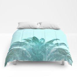 Aqua Tropical Pop Palm Comforters