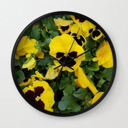 Pansies, Yellow Pansies Wall Clock