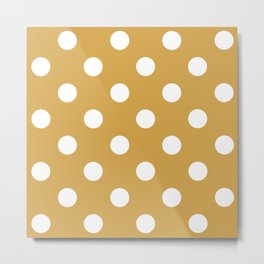 White and Mustard Polka `dots Metal Print