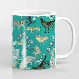 Wolves of the World Green pattern Coffee Mug