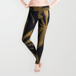 Colorful Mystical Watercolor Floral Plant Pattern Gold Leaves Black Background Leggings