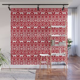 Cat sweater fair isle ugly sweater with cat christmas holiday decor gifts for cat person Wall Mural